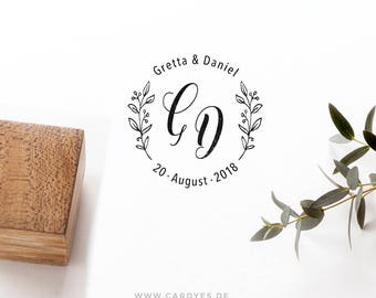 Wedding rubber stamp deluxe • Wedding monogram  • Custom wood stamp • Elegant Wedding Invitations • Personalized Save the Date • Cardyes