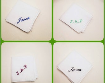 4 Personalized Embroidered Handkerchief