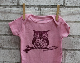 Owl Baby Bodysuit, Cotton Infant Creeper, One Piece Snapsuit, Light Pastel Pink, Spring and Summer Baby Girl, Screenprint Shirt Hand Printed