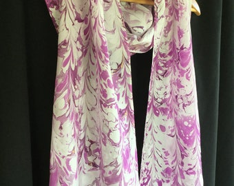 "Orchid and White Hand-marbled Silk Washable Scarf With Metallic Gold Long 14 x 72"" Hand-marbled Large"
