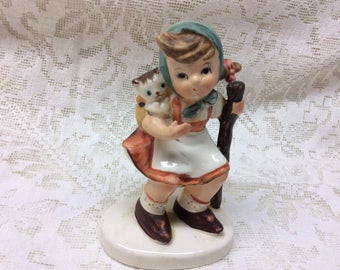 Lefton China, Hand Painted Figurine, Little Girl and Her Walking Stick