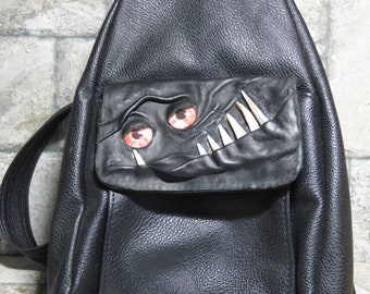 Leather Backpack Woman Purse With Face Monster Black 425