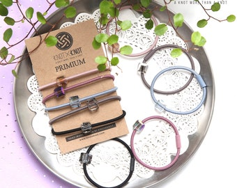 Hair tie/A tone-downed pastel color hair-tie with square ornament, 5pcs per set [KNOTXKNOT]