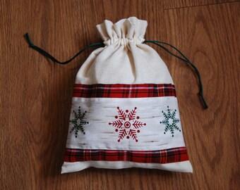 Christmas Gift Bag, Small Christmas Sack, Gift Bag, Snowflake Gift Bag, Christmas Sack, Sack, Snowflake Bag, Christmas Bag