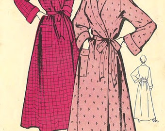 """1950's Vintage Sewing Pattern Women's Dressing Gown Robe Long Length Bust 42"""""""