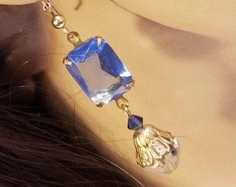 Blue Earrings ~ Sapphire Crystal ~ Art Deco Earrings ~ Vintage Jewelry ~ Dangle Earrings ~ Assemblage Earrings ~ Downton Abbey ~ FREE SHIP