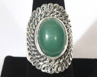 Sterling Silver and Jade Ring, Nephrite Silver Ring, Statement Ring, Large, Chunky, Green Ring