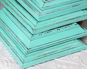 8 x 10 Frame Set Of Three Shabby Chic Vintage Light Aqua Blue Hand Painted Distressed Frame Made To Order