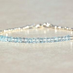 March Birthstone Bracelet, Aquamarine Bracelet, Gemstone Bracelet, Beaded Silver Bracelet, Blue Aquamarine Beads, Womens Bracelet, Gift