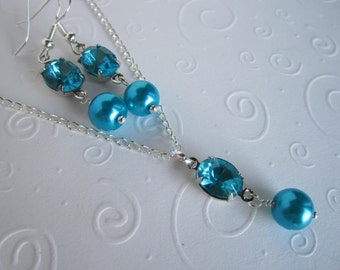 Turquoise Bridesmaid Necklace and Earring Set Turquiose Wedding  Bridesmaid Jewelry
