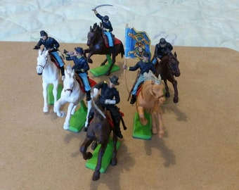 Britians Deetail American Civil War Cavalry Set Of Six 1970s Vintage And Retro Toy Figures
