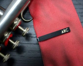 CUSTOM TIE CLIP - handmade personalized ebony wood tie bar -  elegant gift for men