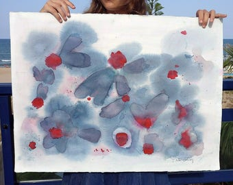 Original watercolor blue flowers and red