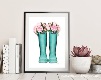 Blue, Teal, wellie boots, with flowers, rain boots, fashion illustration, Watercolor, Peony, fashion, peonies, Gift, Mothers day, flowers