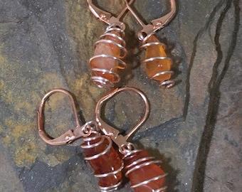 Carnelian Earrings, Carnelian Cage Earrings, Wire Wrapped Carnelian Earrings, Carnelian