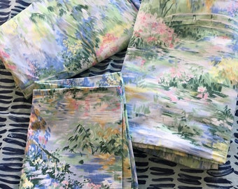 Vintage Springmaid Camille Monet's Garden Pastel Floral Twin Flat and Fitted Sheet Set & One Standard Pillowcase- twin flat sheet, Monet