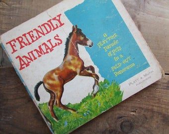 Friendly Animals Children's Board Book Vintage Playtime Parade of Pets Fold Out Panorama Farm Animals Book