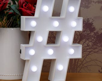 """Light Up Hashtag Sign # 30cm (12"""") high, Illuminated Decorative White Wooden 3D Marquee Letters with LED Lights Wall Hanging or Freestanding"""