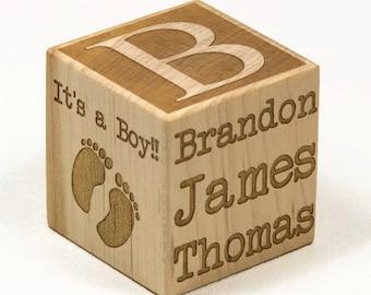 Personalized Baby Block, New Baby Gift, Newborn Gift, Baptism Gift, Engraved Baby Block, Personalized Block, Nursery Decor
