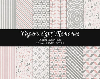 """Digital patterned paper - Thinking Out Loud Pink -  digital scrapbooking - patterned & textured paper  - 12x12"""" 300dpi  - CU ok"""