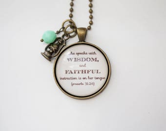 She Speaks With Wisdom, Faithful Instruction Proverbs 31 Necklace Inspirational Christian Jewelry  Scripture Pendant Bible Verse Gift Women