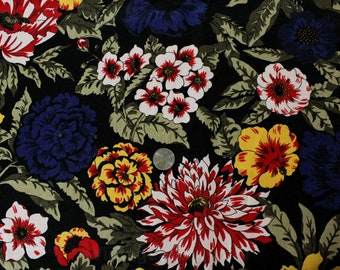1990s Floral Linen Fabric - Over 5 Yards x 44.5 Inches Wide - Black Red Blue Yellow Tropical Flowers - Beautiful Summer Mid-Weight - 50686