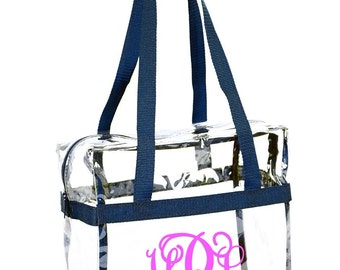Monogrammed Clear Stadium Tote Bag - Traditional Design