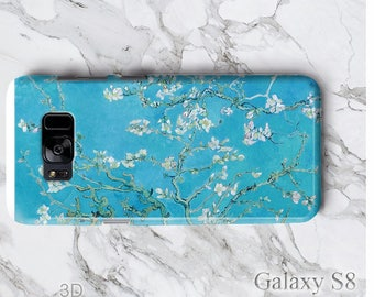 Galaxy S9 Plus Almond Blossom Flower Phone Case,iPhone X 8 7 Impressionist Blue van Gogh Paint Art, Slim 3D Edgeless S8+ iPod Touch 6 Cover