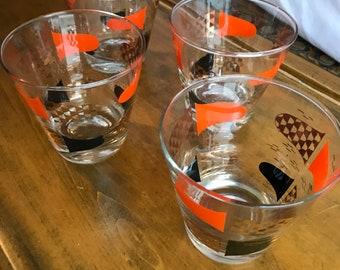 Set of four mid-century modern glasses