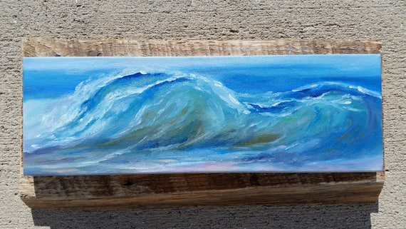 Wave painting on rustic wood, gray purple green abstract art, rustic coastal art, wave on canvas, coastal decor beach house water abstract