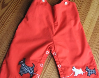 Vintage Baby red overalls PANTS Scottie Terrier Applique 6 months 3 months