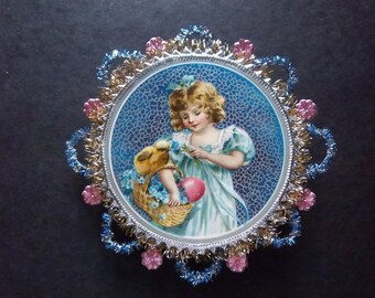 Easter Happiness ~ Beautiful Victorian Inspired Holiday Ornament ~ Girl with Easter Basket Chick and Egg