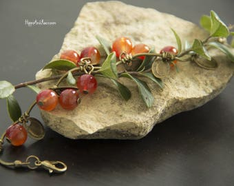Very beautiful female bronze bracelet with red currant berries Charm bracelet Bronze bracelet Floral bracelet A gift for her Gift under 10.