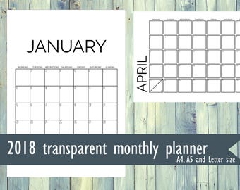 Printable transparent 2018 monthly planner. PNG file planner. 2018 monthly planner. A4 size, Letter size, A5 size printable planner.