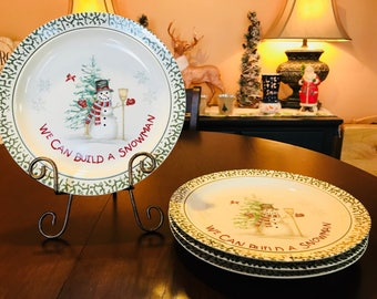 Vintage We Can Build A Snowman Stoneware Christmas Dishes. Dinnerware Set. Plates Bowls & Christmas dinnerware   Etsy