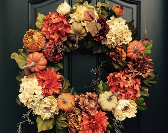 Ordinaire FALL Wreath, Thanksgiving Wreath, Front Door Wreath, Holiday Home Decor,  Hydrangea Wreaths, AUTUMN Wreath, Fall Home Decor, Wreaths For Fall