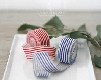 """Linen French Stripe Ribbon 1"""" Red or Blue - Wedding decor/gift packaging/photo prop"""