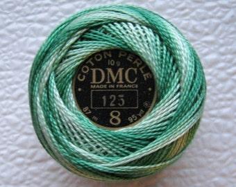 DMC Perle Cotton Thread 125 Size 8 Variegated SEAFOAM Green