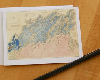 """Casco Bay Map Note Cards (1870) 4.25""""x5.5"""""""