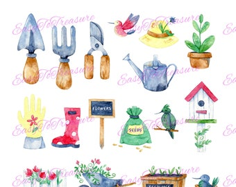 Digital Download Clipart – Variety of 19 Garden Collection JPEG and PNG file formats