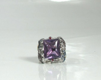 Amethyst, Green Garnet, Sapphire, Diamond and Ruby Ring; Whimsical Ring; Butterfly Ring; Flower Ring; Cocktail Ring; February Birthstone