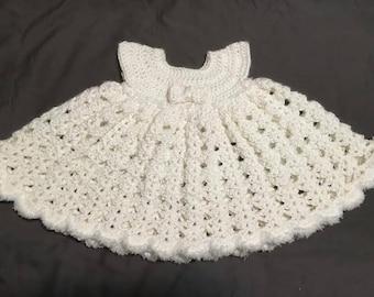 Crochet Baby Dress - fuzzy white (0-3 months)