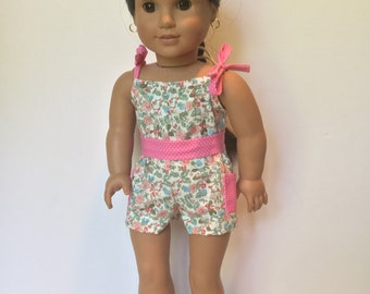 """American 18"""" Girl doll romper, Sun suit, Play clothes, Sunsuit, Romper with belt, Shorts, Fits like American.Girl doll summer clothes"""