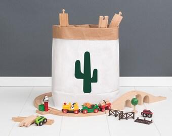 Paper bag M - dark green Cactus - powder cloud