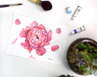 Peony Print Watercolor Art Print Peony Art Peony Wall Art Peony Watercolor Peony Home Decor Pink Watercolor Flower Painting Floral
