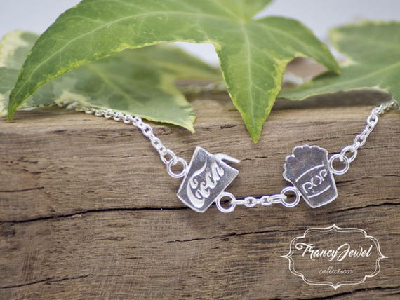 Bracelet with charms, Coca Cola bracelet, Pop Corn charm, pendants jewelry, made in Italy, handmade jewelry, 999 fine silver, birthday gift