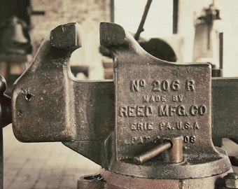 Antique Vice Photo, Industrial Wall Decor, Train Factory Art Photography