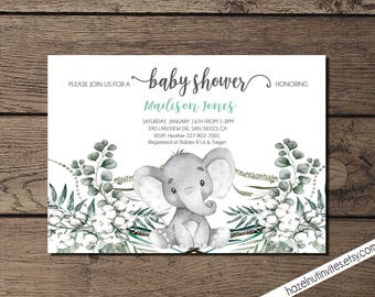 Neutral Baby Shower Invite, Elephant Baby Shower Invitation, Safari baby shower, jungle invite _2029