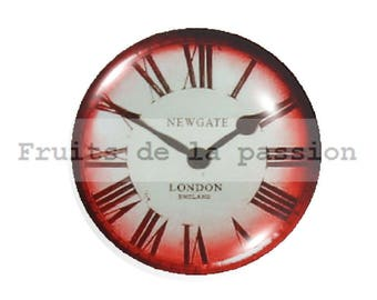 1 cabochon 25mm round glass red clock