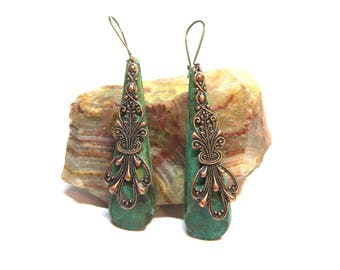 ON SALE Large Green Patina Earrings Vintage Copper Filigree Lace Earrings Rustic Patina Jewelry Shabby Country Boho Chic Romantic